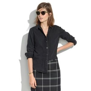 Madewell Pintuck Faded Black Chambray Denim Shirt